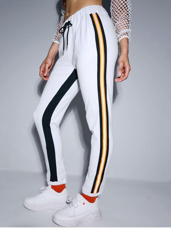 fancy ZAFUL Reflective Design Drawstring Jogger Pants - WHITE M