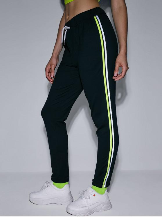 women ZAFUL Reflective Striped Side Pocket Jogger Pants - BLACK M