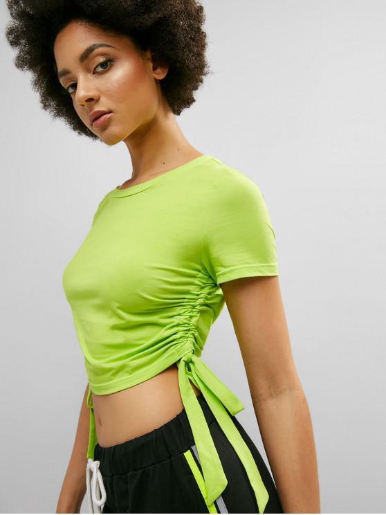 lady ZAFUL Neon Drawstring Crop Gym Tee - PISTACHIO GREEN M