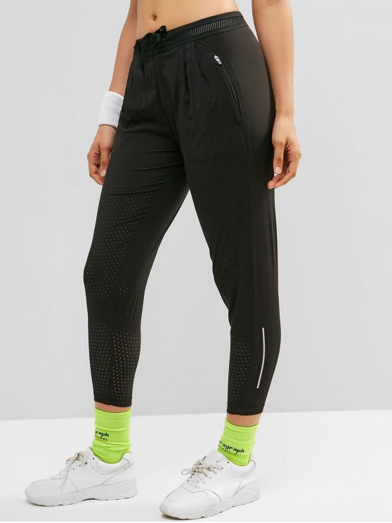 hot Perforated Pocket Reflective Design Pants - BLACK XL