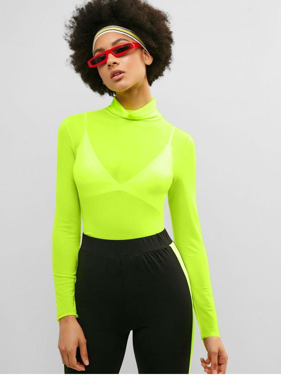outfits ZAFUL High Neck Mesh Neon Tee - MINT GREEN M