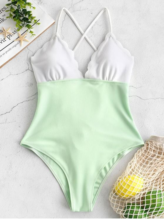 sale ZAFUL Lace-up Two Tone Scalloped Swimsuit - GREEN PEAS L