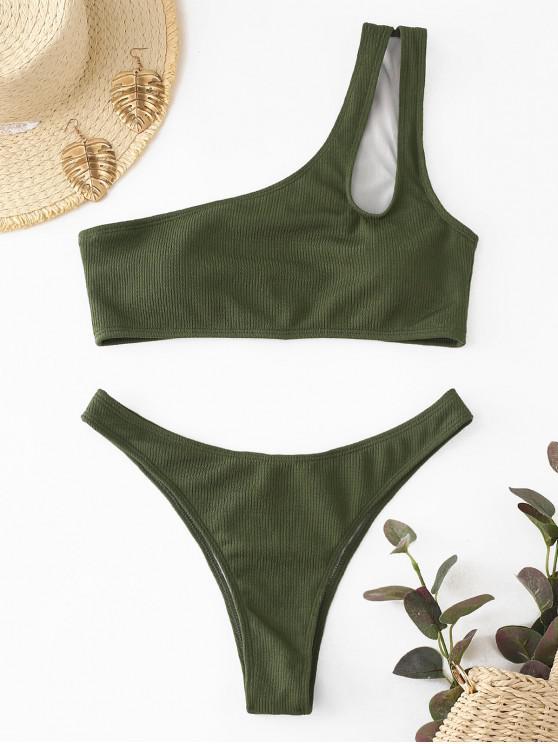 fancy ZAFUL Ribbed Cutout One Shoulder Bikini Set - CAMOUFLAGE GREEN L