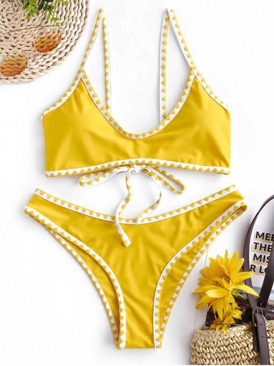 ladies ZAFUL Contrast Trim Crochet Bikini Set - BRIGHT YELLOW XL