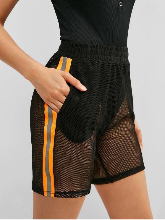 unique ZAFUL Contrast Reflective Fishnet Gym Shorts - BLACK L