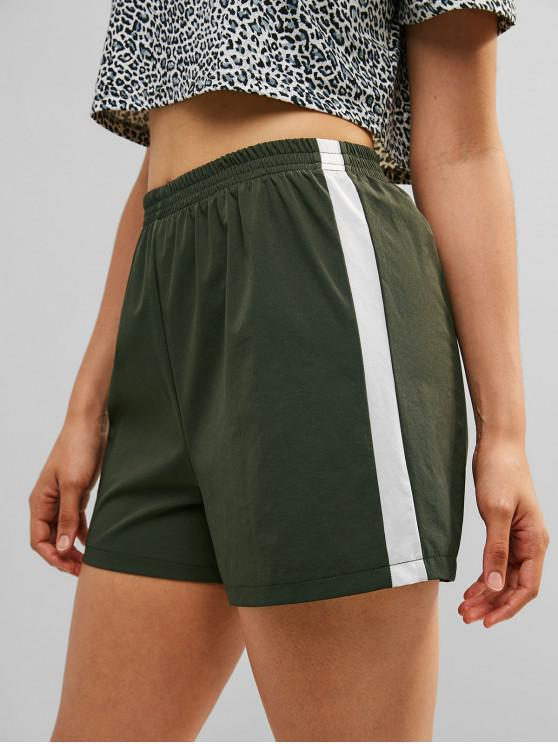 womens ZAFUL Color Block High Waisted Shorts - DARK FOREST GREEN S