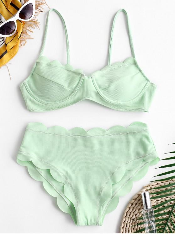 fancy ZAFUL Textured Scalloped Cami Bikini Set - GREEN PEAS L