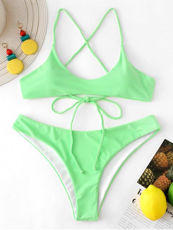 fashion ZAFUL Reversible Braided Criss Cross Bikini Set - MINT GREEN S