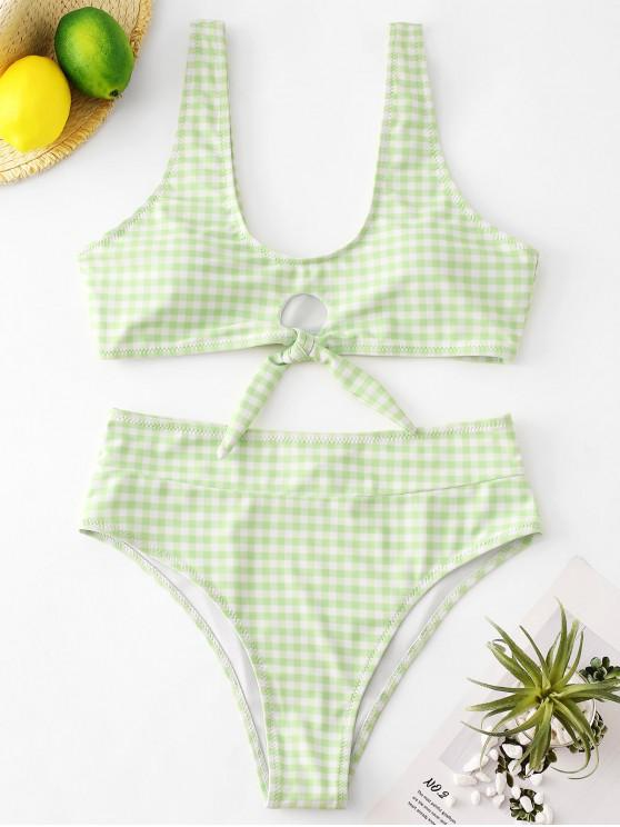 ladies ZAFUL Gingham Knot High Cut Tank Bikini Set - TEA GREEN L