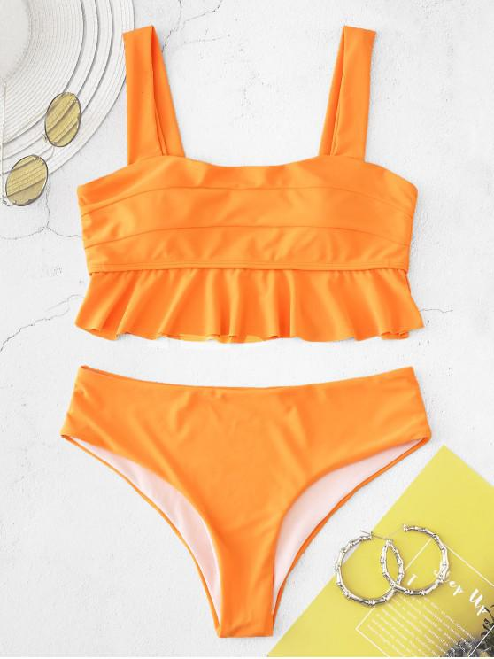 shops ZAFUL Flounce Neon Tankini Set - DARK ORANGE S