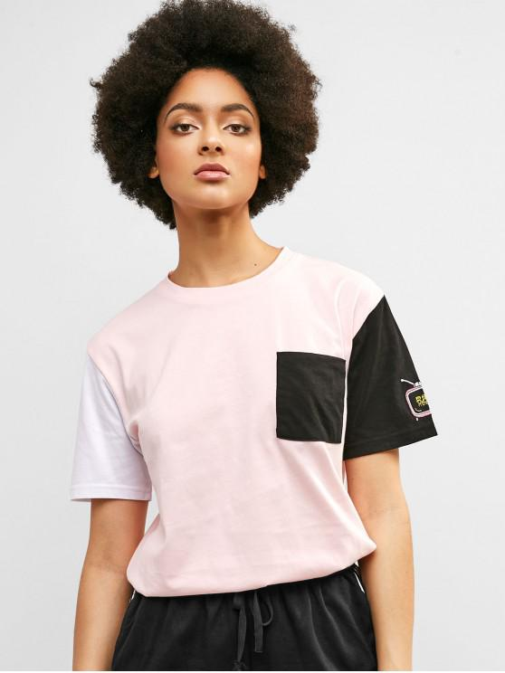 hot Embroidered Color Block Chest Pocket Tee - PIG PINK M