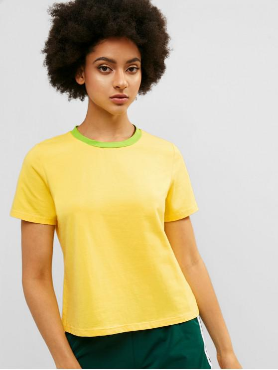 buy ZAFUL Contrast Neck Short Sleeve Casual Tee - YELLOW L