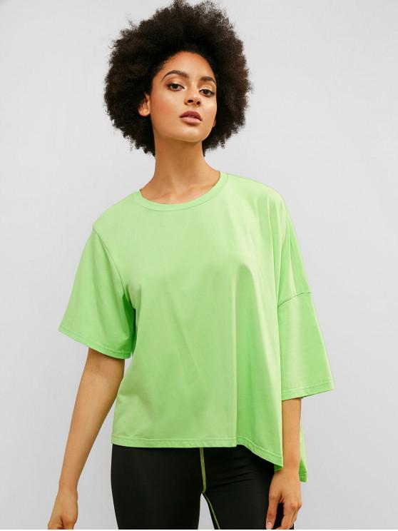 women ZAFUL Oversized Asymmetric Boyfriend Neon Tee - MINT GREEN M