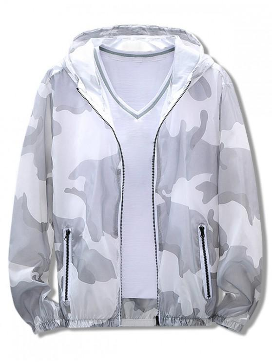 buy Camouflage Print Antisun Hooded Jacket - GRAY 2XL