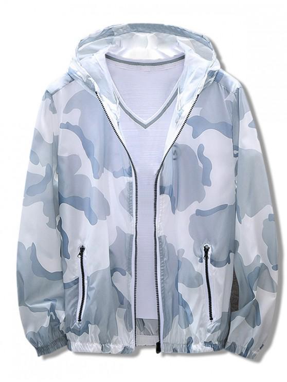 ladies Camouflage Print Antisun Hooded Jacket - BLUE L