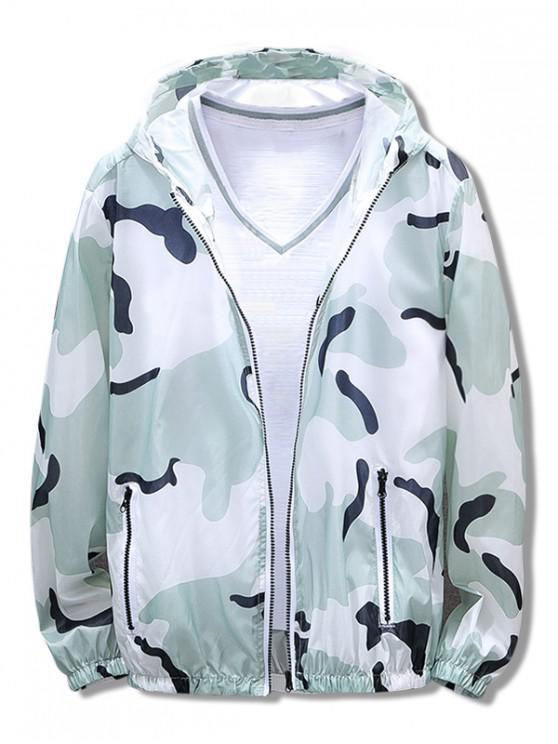 shop Camouflage Print Antisun Hooded Jacket - GREEN 2XL