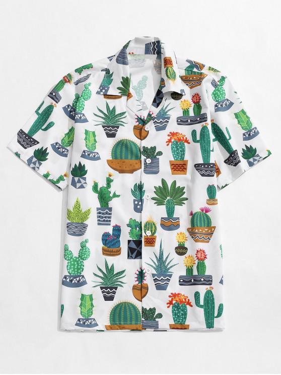 ladies Cactus Plant Print Casual Beach Shirt - MULTI M