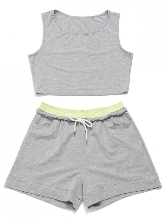 shops ZAFUL Crop Gym Tank Top and Drawstring Shorts Set - GRAY GOOSE S