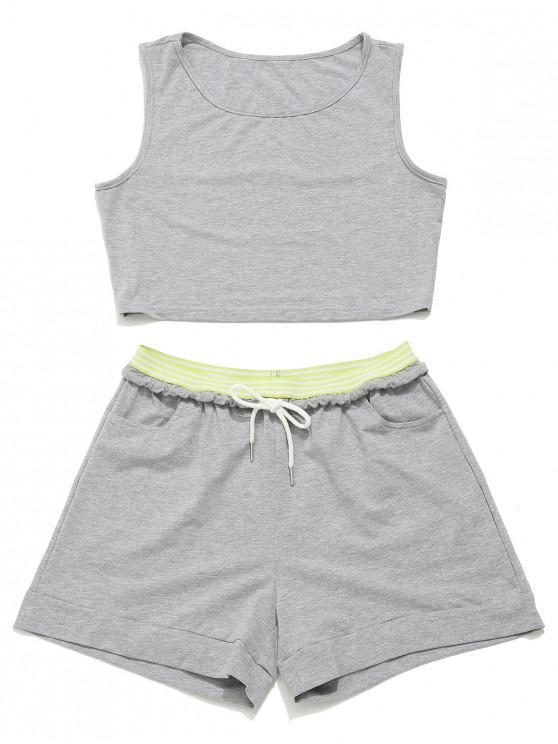 latest ZAFUL Crop Gym Tank Top and Drawstring Shorts Set - GRAY GOOSE M
