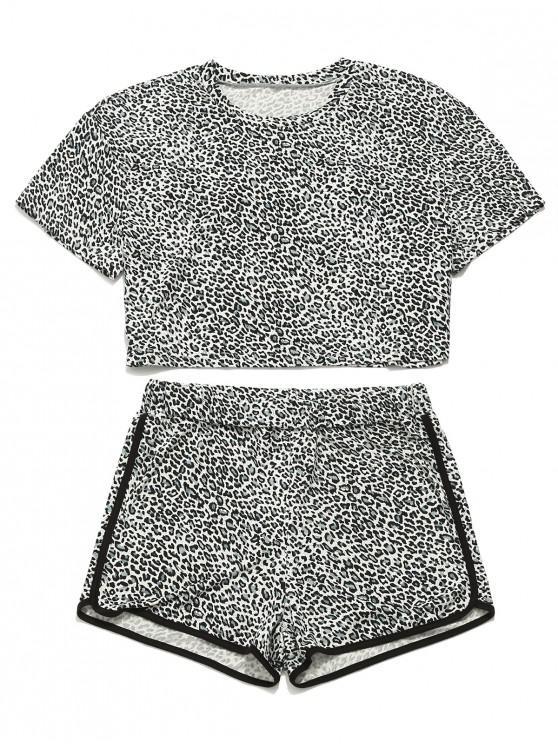 chic ZAFUL Leopard Crop T-shirt and Shorts Set - LEOPARD L