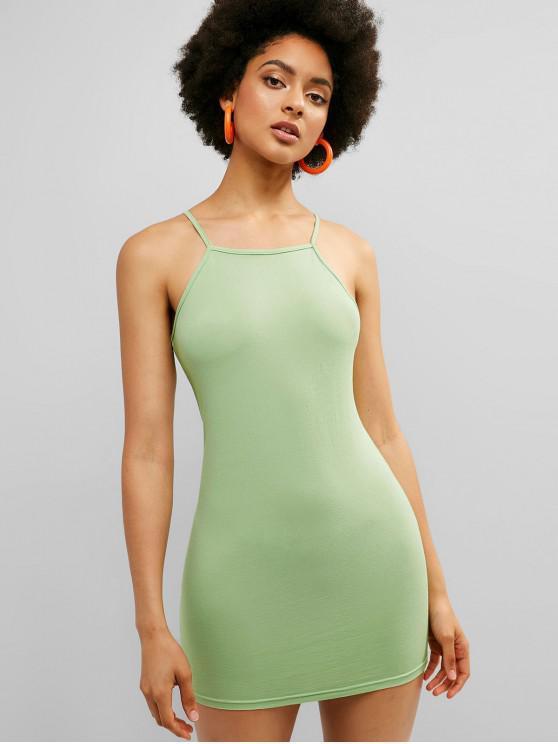 ladies ZAFUL Spaghetti Strap Fitted Mini Dress - GREEN PEAS L