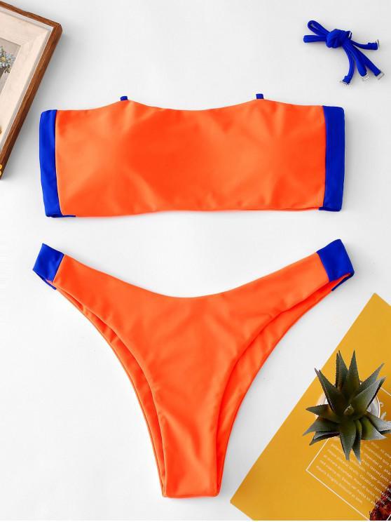 ZAFUL Ensemble de Bikini Bandeau Bicolore Néon - Orange L