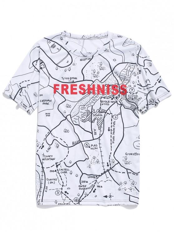 women Map Graphic Letter Print Casual T-shirt - MILK WHITE 2XL