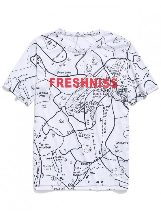 ladies Map Graphic Letter Print Casual T-shirt - MILK WHITE 4XL