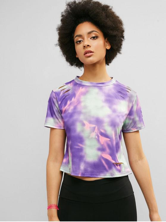 chic ZAFUL Tie Dye Ripped Casual Tee - MULTI M