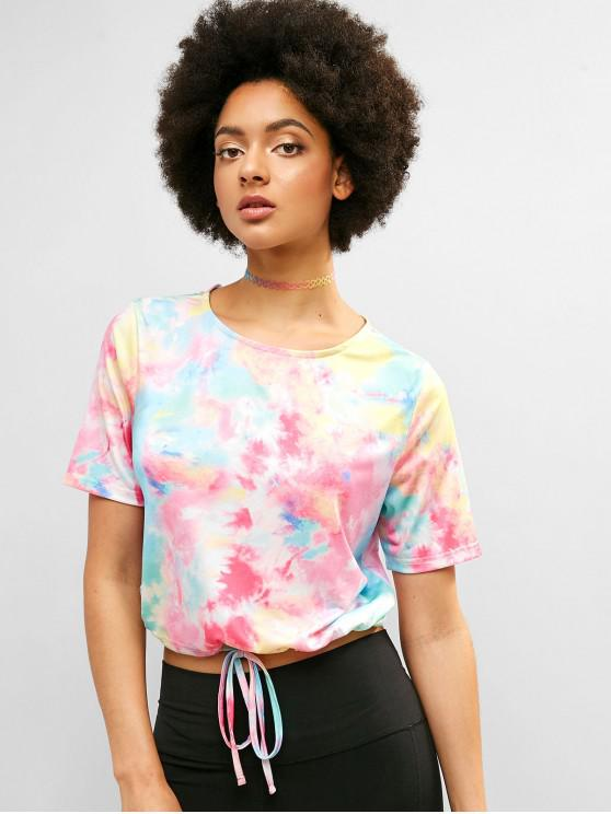 ladies ZAFUL Keyhole Back Drawstring Tie Dye Tee - MULTI M