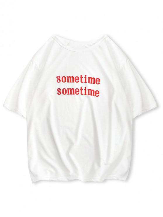 T-shirt Lettre Imprimée à Manches Courtes - Blanc Lait S