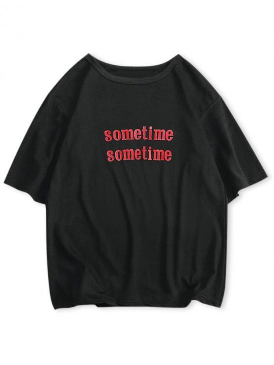 T-shirt Lettre Imprimée à Manches Courtes - Noir S