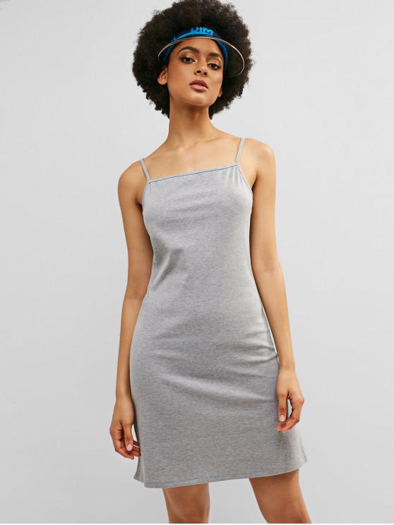 sale ZAFUL Cami Ribbed Short Casual Dress - LIGHT GRAY M