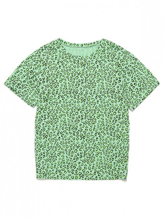 shop ZAFUL Leopard Cotton Boyfriend Tunic Tee - ALGAE GREEN S