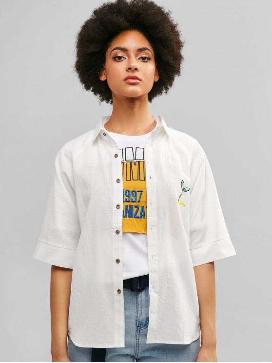 lady Raglan Sleeve Embroidered Tunic Shirt - WHITE L