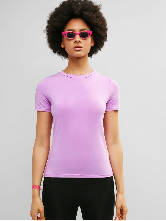 fashion ZAFUL Short Sleeve Elastic Slim Gym Tee - MAUVE M