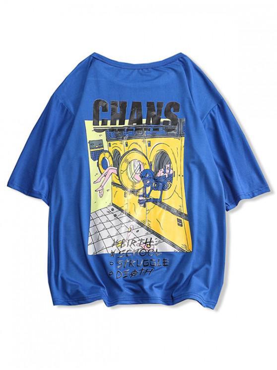 womens Skull Laundry Room Letter Print Casual T-shirt - COBALT BLUE XS