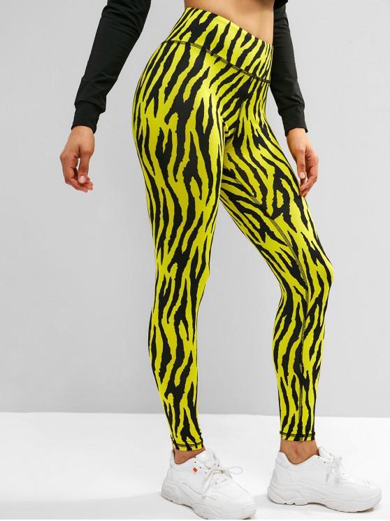buy ZAFUL Zebra Print High Rise Yoga Sporty Leggings - MULTI M