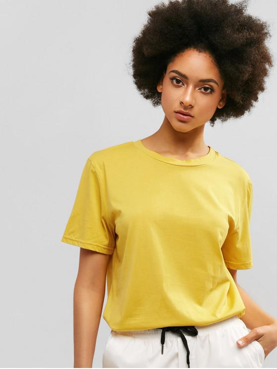 outfit ZAFUL Casual Boyfriend Long Tunic Tee - GOLDENROD L