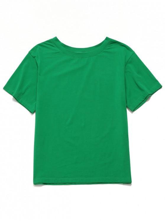 shops ZAFUL Solid Short Sleeve Boyfriend Tee - JUNGLE GREEN L