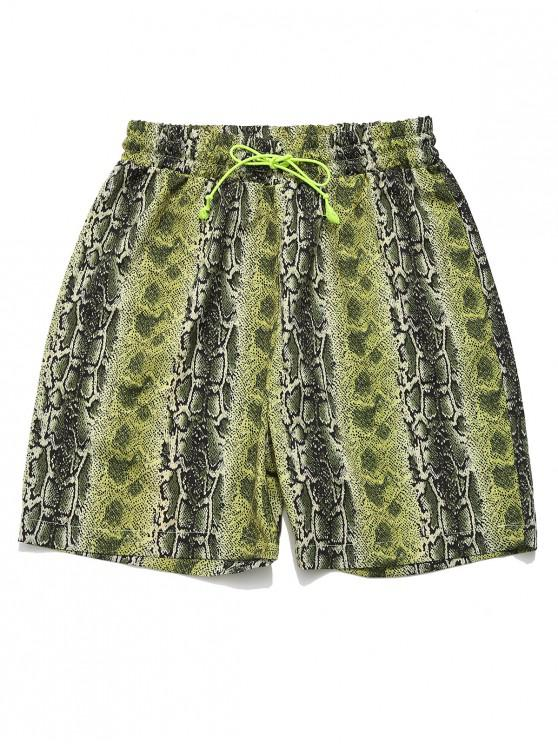 affordable ZAFUL Snakeskin Animal Print Drawstring Shorts - MULTI M