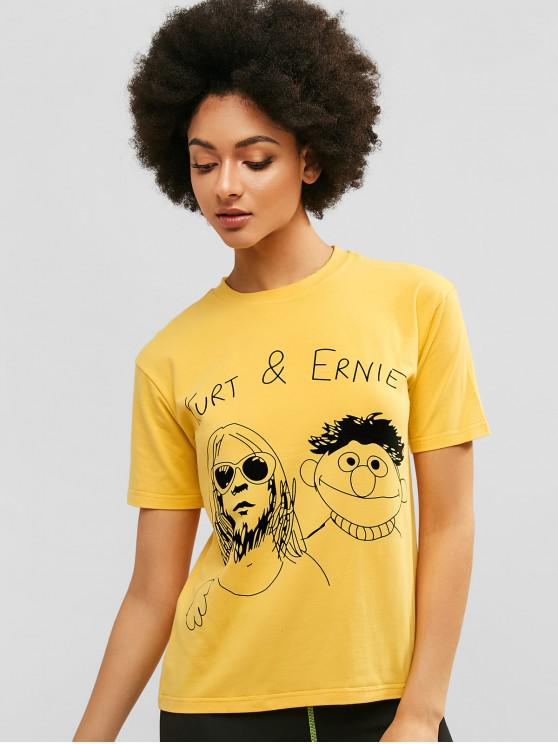 outfit Graphic Casual Short Sleeve Tee - RUBBER DUCKY YELLOW M