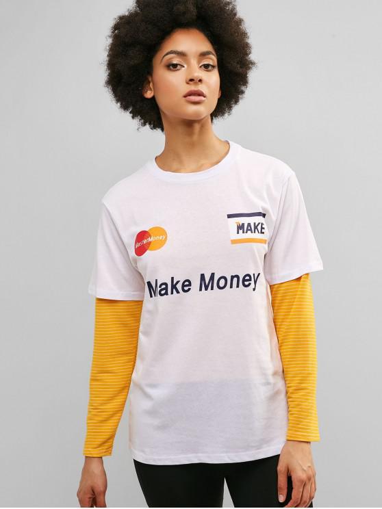 chic Make Money Graphic Cotton Tunic Tee - WHITE L