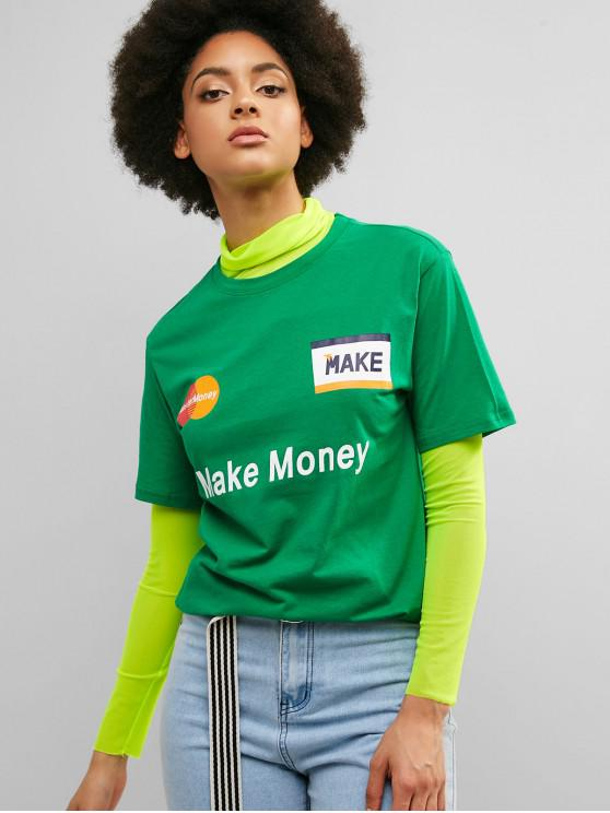 unique Make Money Graphic Cotton Tunic Tee - GREENISH BLUE M