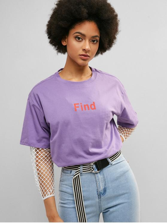 affordable Drop Shoulder Tunic Graphic Boyfriend Tee - MAUVE M