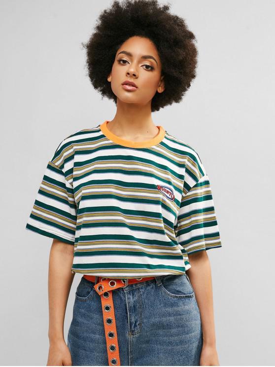 online Drop Shoulder Striped Boyfriend Tunic Tee - SEA GREEN XL