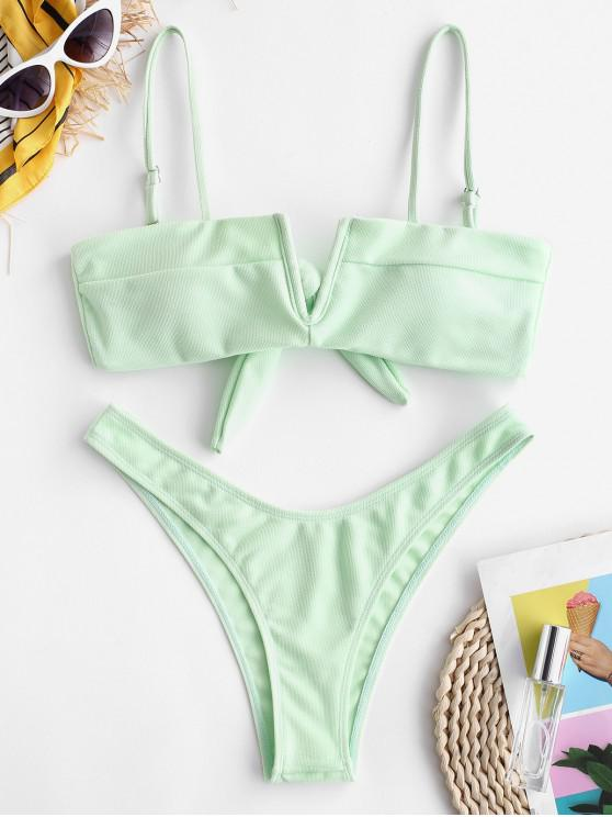affordable ZAFUL Textured V Wired Cami Bikini Set - GREEN PEAS L