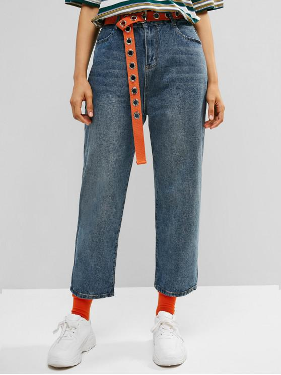 online Rolled Hem Straight High Rise Jeans - DENIM DARK BLUE L