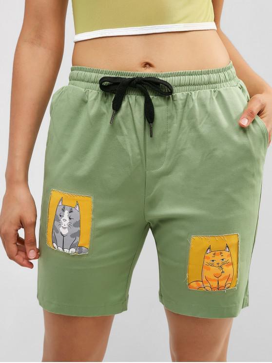outfit Drawstring Cat Graphic Pocket Bermuda Shorts - DARK SEA GREEN L