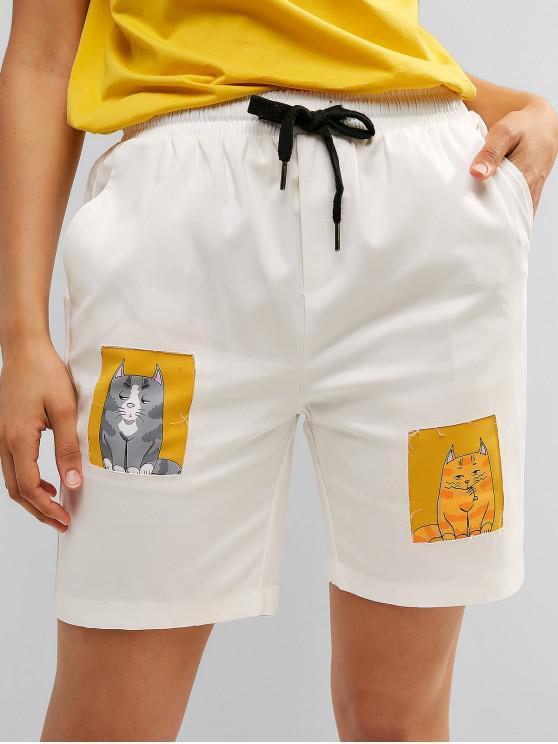 latest Drawstring Cat Graphic Pocket Bermuda Shorts - WHITE XL